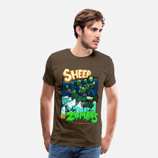 Movie T-Shirts - sheep vs zombies - Men's Premium T-Shirt noble brown