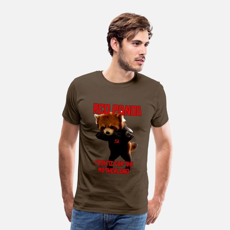 Communist T-Shirts - Red Panda Fights For The Motherland - Men's Premium T-Shirt noble brown