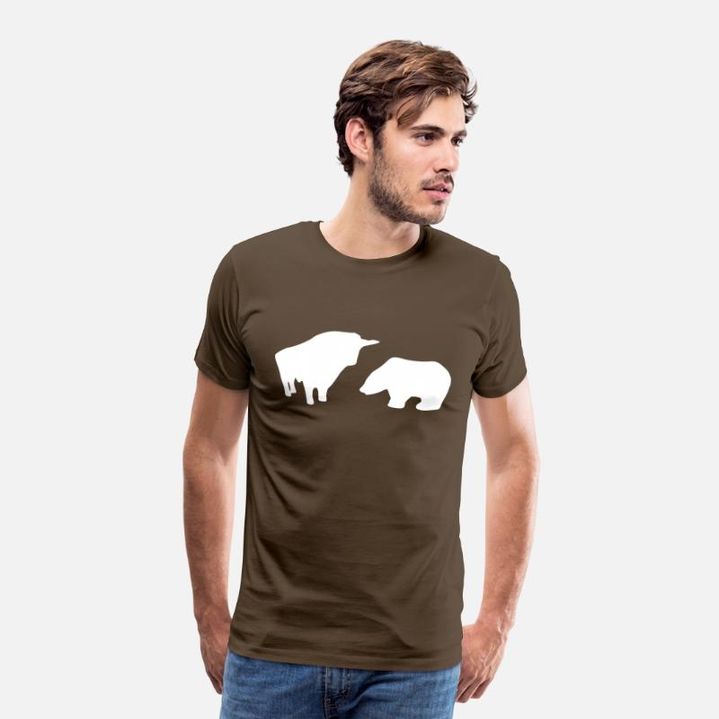 Stock Market T-Shirts - Stock Market - Bull/Taurus & Bear - Men's Premium T-Shirt noble brown
