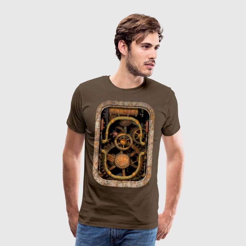 Rusty and Grungy Steampunk Machinery Men's T-Shirt - Men's Premium T-Shirt