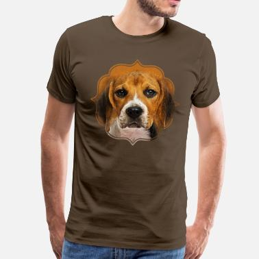 Digital Art Beagle dog digital art - Men's Premium T-Shirt