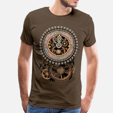 Steampunk Cogs Steampunk Vintage Clock and Gears Women's Premium  - Men's Premium T-Shirt