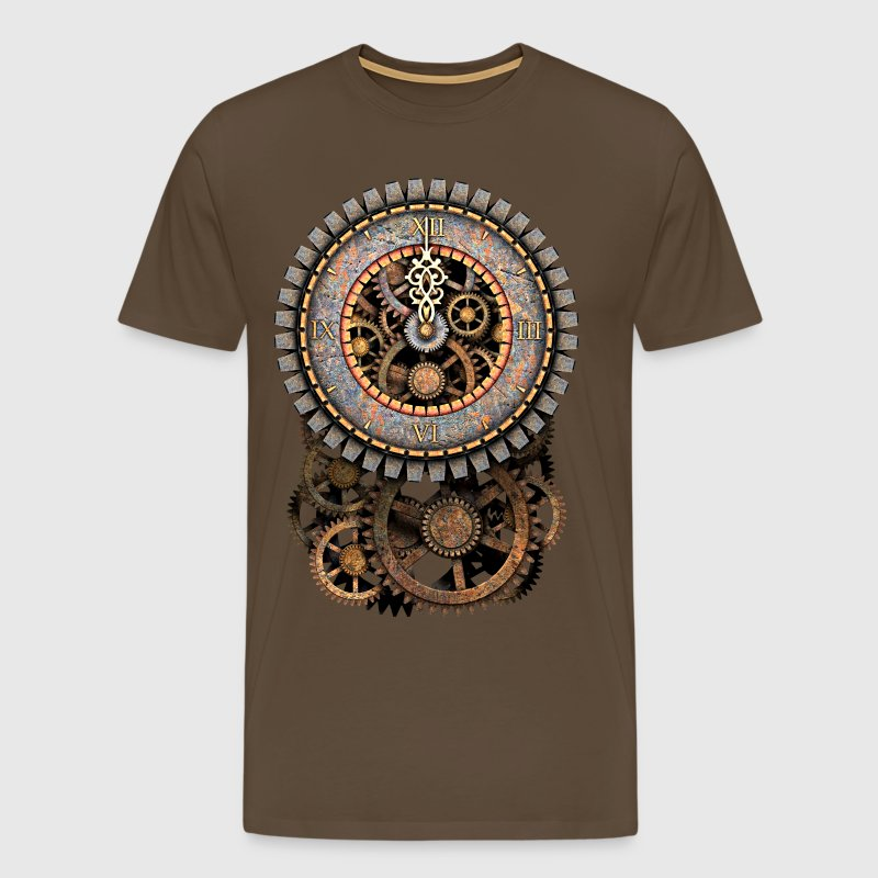 Steampunk Vintage Clock and Gears Women's Premium  - Men's Premium T-Shirt