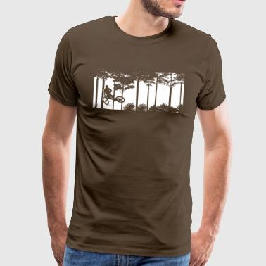 Scene with mountain biker in the forest - Men's Premium T-Shirt