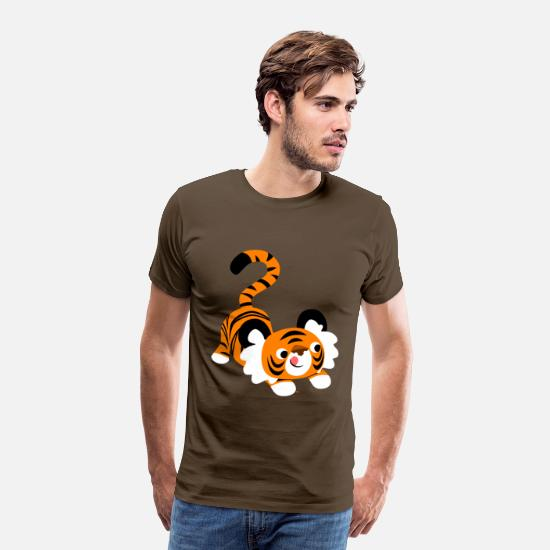 Pounce T-Shirts - Cute Cartoon Tiger Ready To Pounce!! by Cheerful Madness!! - Men's Premium T-Shirt noble brown
