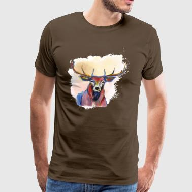 Deer head in red cloud - Men's Premium T-Shirt