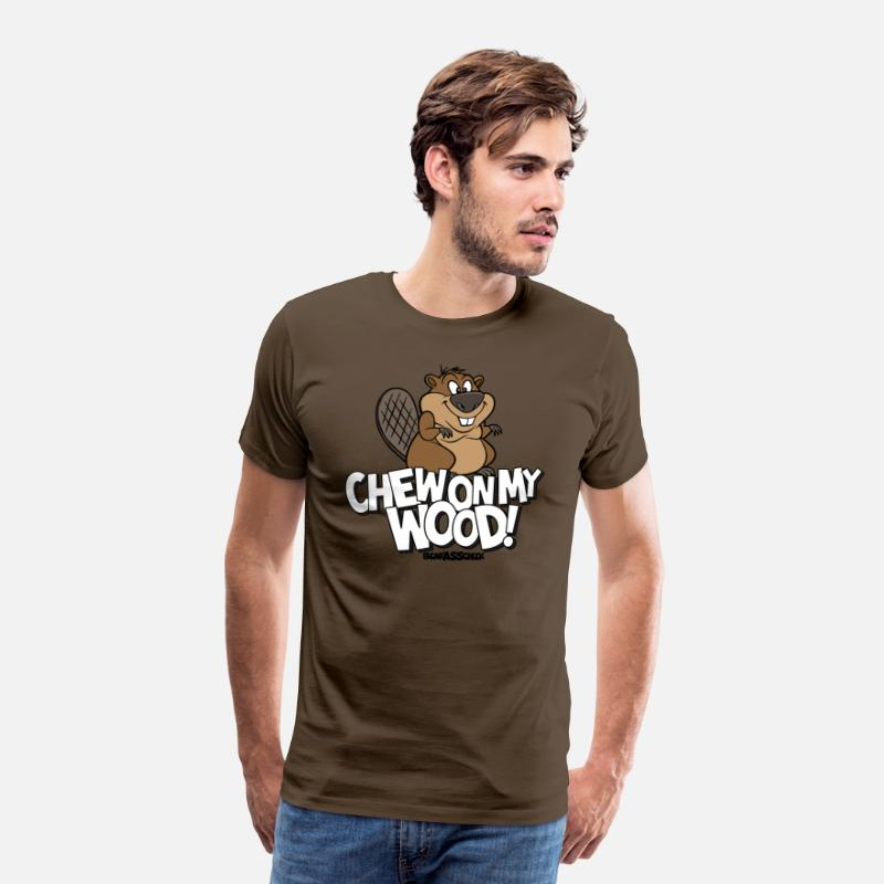 Naughty T-Shirts - Bear Ass Cheek - the Eager Beaver - Men's Premium T-Shirt noble brown