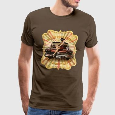 Classic cuban car Plymouth sexy retro vintage girl - Men's Premium T-Shirt