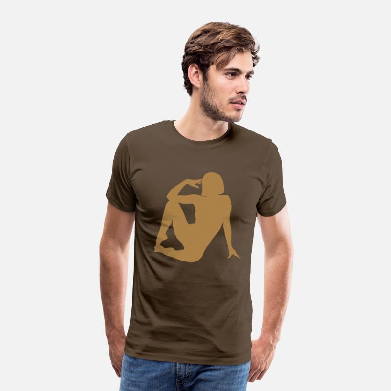 Nude T-Shirts - Posing Nude Porn Erotic Fuck Horny xxx sexy table - Men's Premium T-Shirt noble brown