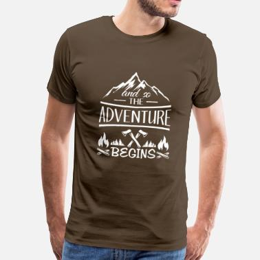 Scout And so the Adventure begings - camping scout gift  - Herre premium T-shirt