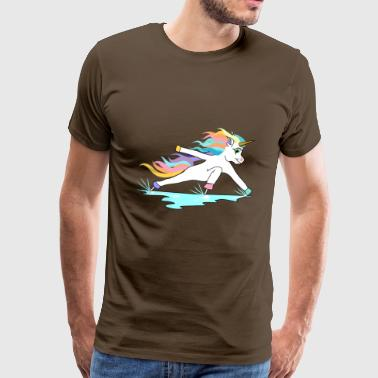 Fast skating unicorn in inclined position - Men's Premium T-Shirt