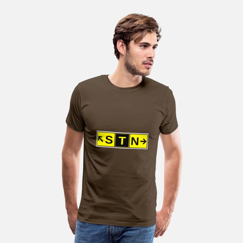 Airport T-Shirts - STN Stansted Airport Taxiway Direction Sign Array - Men's Premium T-Shirt noble brown