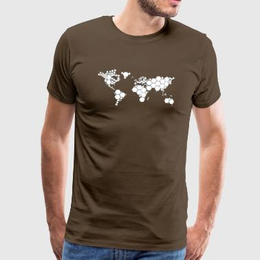 Map Abstrakti World Map - Miesten premium t-paita