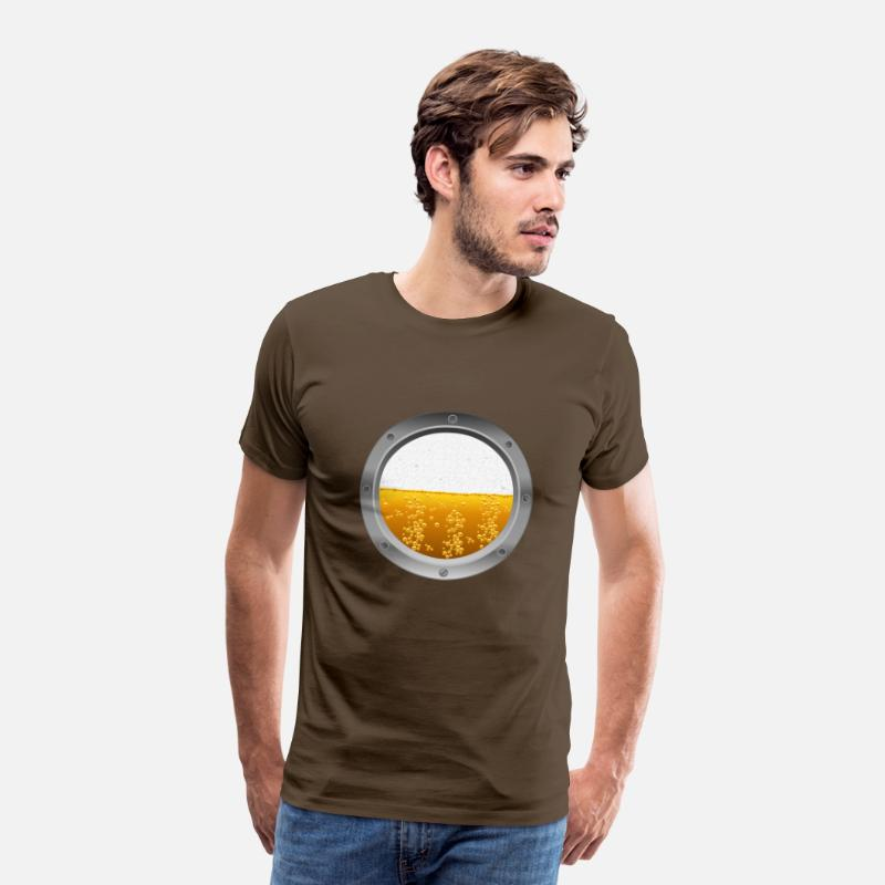 Beer T-Shirts - Beer porthole  - Men's Premium T-Shirt noble brown