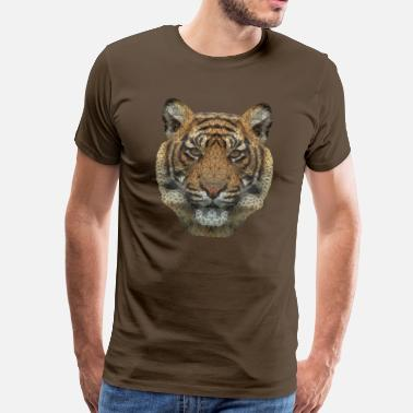Mosaik Polygon Tiger Transparent - Männer Premium T-Shirt