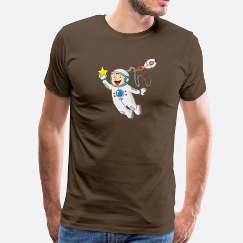 Little astronauta cartone animato maglietta premium uomo