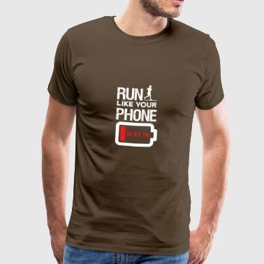 Low Battery Go jogging like your phone's battery low - Men's Premium T-Shirt