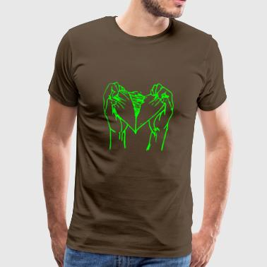 Torn heart neon green - Men's Premium T-Shirt