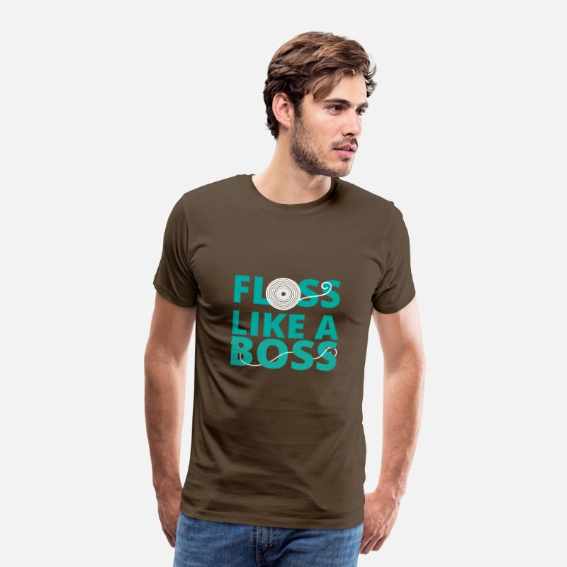 Dentist T-Shirts - Dentist: Floss like a Boss - Men's Premium T-Shirt noble brown
