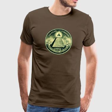 Pyramid All seeing eye, pyramid, dollar, freemason, god - Men's Premium T-Shirt
