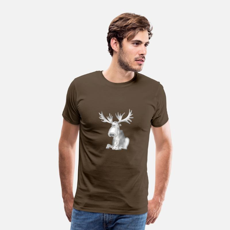 Reindeer T-Shirts - elk reindeer antlers winter Sweden Rudolf xmas lo - Men's Premium T-Shirt noble brown