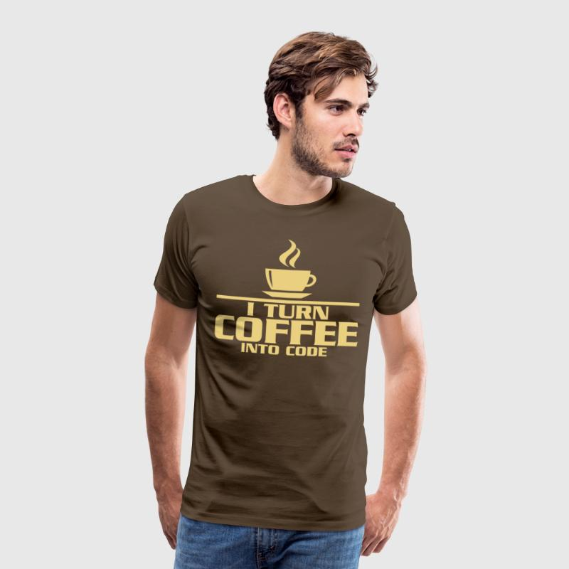 I turn coffe into code - Premium T-skjorte for menn