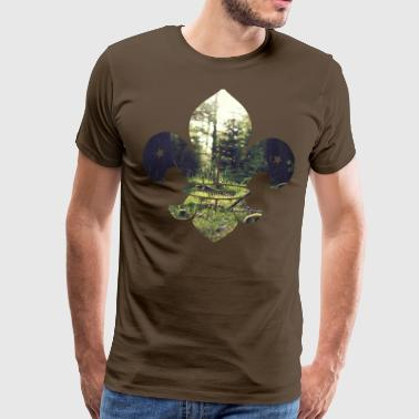 Boy Scout icon with forest - Men's Premium T-Shirt