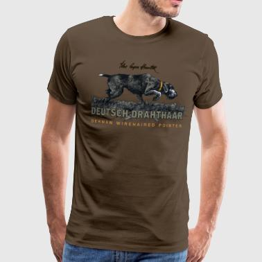German Wirehaired Hair The Born Hunter - Men's Premium T-Shirt