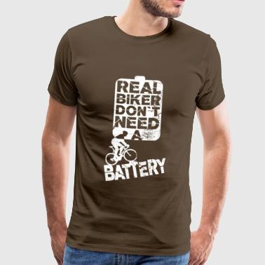 Real mountain bikers do not need a battery - Men's Premium T-Shirt