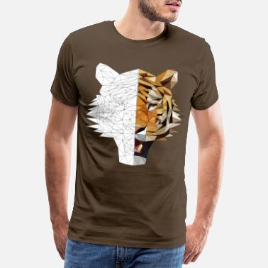 Tofarget Tiger polygon Bicolor - Premium T-skjorte for menn