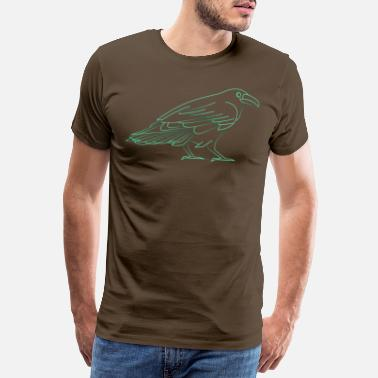 Line Drawing Cool Thin Line Raven Drawing - Men's Premium T-Shirt