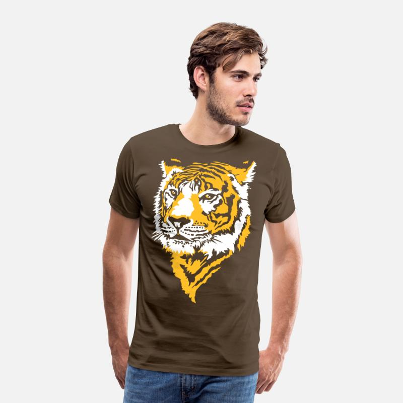 Collection T-shirts - Tigre - T-shirt premium Homme marron bistre