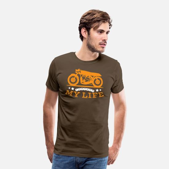 Motorsport T-Shirts - Motorcycle Changed My Life - Mannen premium T-shirt edelbruin