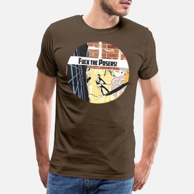 Freaky FUCK THE POSERS freaky funky zomeroverhemd - Mannen premium T-shirt