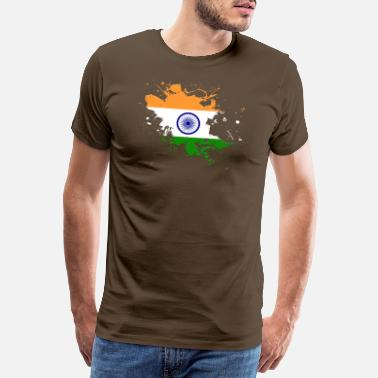 India Ink India flag as a splash of color - Men's Premium T-Shirt
