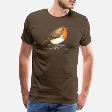 Drawing O_111_Erithacus_rubecula - Men's Premium T-Shirt