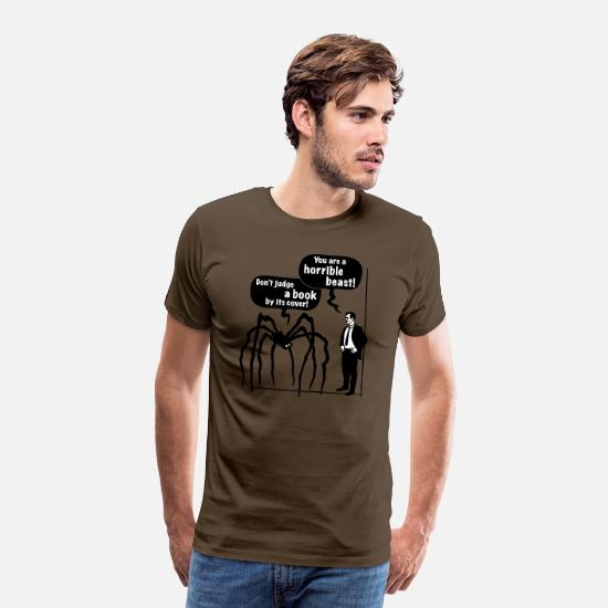Soul T-Shirts - Cartoon: Horrible Beast / Don't judge a book by - Men's Premium T-Shirt noble brown
