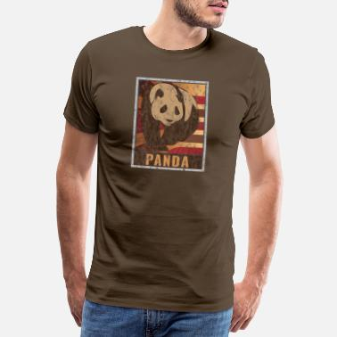 Claw Retro Panda Poster Distressed Look - Men's Premium T-Shirt