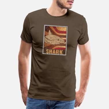 Fin Retro Shark Poster Distressed Look - Men's Premium T-Shirt