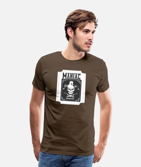 Rap T-Shirts - Maniac card design with skull and knife - Men's Premium T-Shirt noble brown