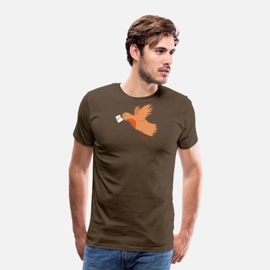 Love Collection V2 T-Shirts - Bird with letter - Men's Premium T-Shirt noble brown