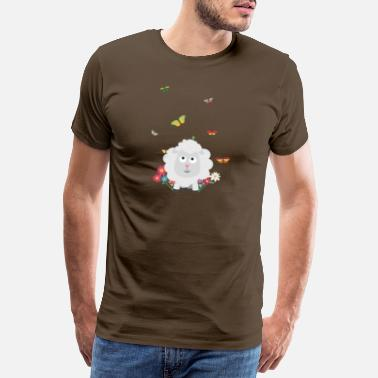 Victim Sheep with flowers and S1mk7 design - Men's Premium T-Shirt