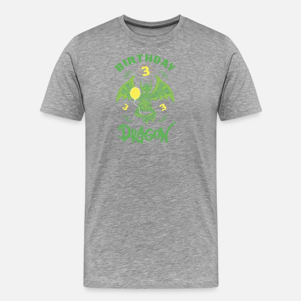 Dragon Gift 3rd Birthday Shirt Boy Mens Premium T