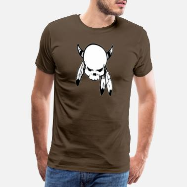 Punk Skull with feathers - Men's Premium T-Shirt