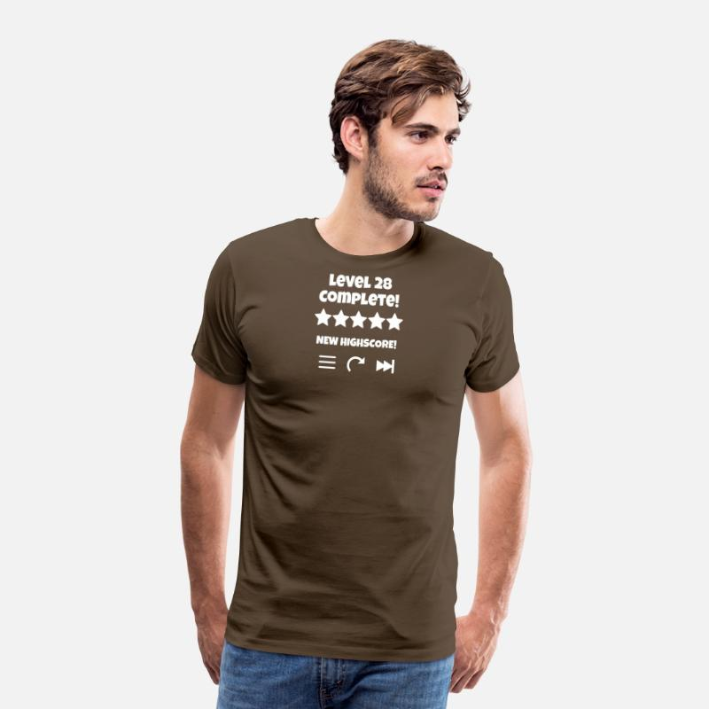 Born In Febuary T-Shirts - Level 28 Complete New Highscore - Men's Premium T-Shirt noble brown