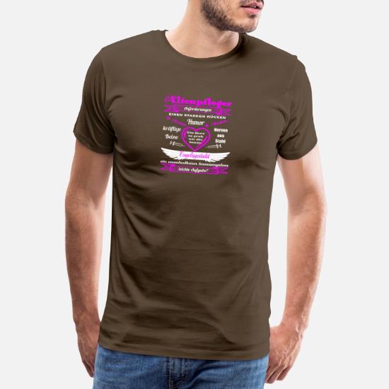86593ec80b9 verzorger roze - Mannen premium T-shirt. Achter. Achter. Ontwerp. Voor