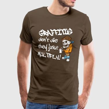 Cool grappig graffiti kunst skelet Hipster. Graffiti. - Mannen Premium T-shirt