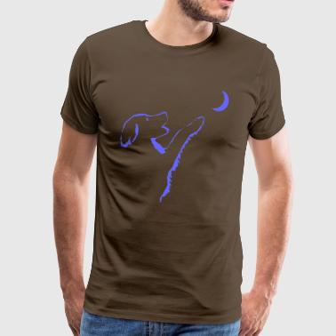 Dog looks at moon - Men's Premium T-Shirt