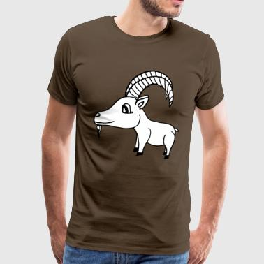 sweet goat with horns. Vector file - Men's Premium T-Shirt
