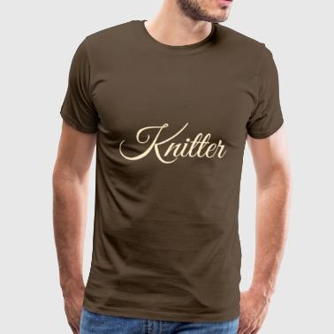 Knitter, tan - Men's Premium T-Shirt